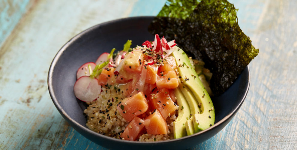 Raw Salmon Poke Bowl With Brown Sushi Rice And White Miso And Ginger Dressing Powerful Cooking